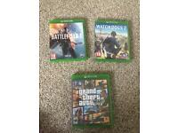 Xbox One Games gta bf1 watch dogs