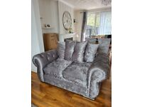 Sofa and dinning set with curtains and mirror