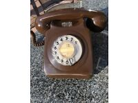 Vintage Brown Rotary Dial 8746F Telephone Phone Retro GPO