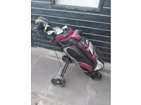 Full set of men's right handed golf clubs,golf bag and trolley, excellent condition