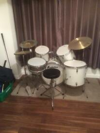 Drums suit beginner hardware starting to rust but shells and skins are sound