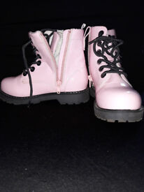 H&M Pink Patent Leather Combat Boots Girls
