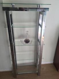 Glass shelf shelving unit