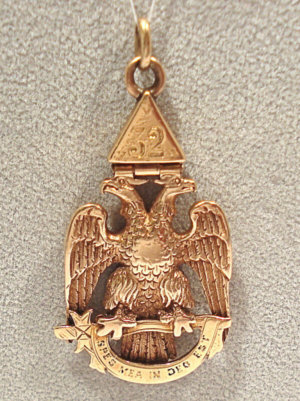 SOLID 14K YELLOW GOLD MASONIC DOUBLE HEAD EAGLE FOB
