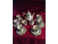 Eternal bow crockery - unused. Teapot, sugar bowl and milk jug. 6 teacups, saucers and plates