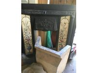 Victorian Iron Fire surround with Tile insert .Fire insert ,fire bracke and metal basket & front.