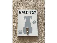 Walkies, dog designed plaque with hook for lead. Brand new