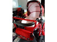 Twing baby pram pushchair and car seat beautiful pram etc colour red white flowers .
