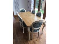 Oak dining table and 6 crushed velvet chairs