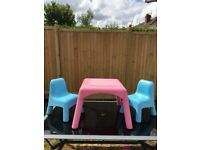 Early Learning Centre Pink Table & 2 x Blue Chairs