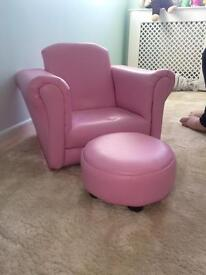 Child's rocking chair and foot stool