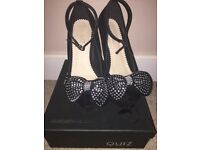 Quiz black wedge shoes with bow size 3