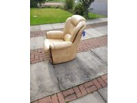 Beautiful Italian cream leather hand stitched arm chair. Retail £599 bargain at £80 see for details