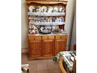 Pine sideboard with shelving unit above