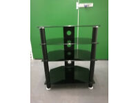 Black glass 4 tier television stand