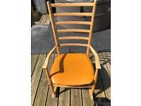 Blonde retro rocking chair leatherette seat