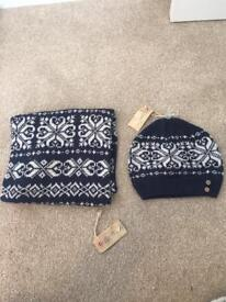 Hat and scarf set women's navy blue- Fat Face