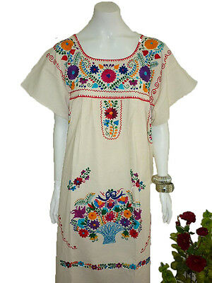 Manta 100  Cotton Hippie Boho Tunic Embroidered Mexican Dress Vintage Style
