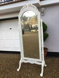 Stunning French Shabby Chic Boudoir Cheval Full Length Dressing Mirror