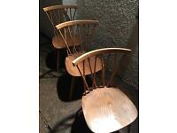 3 X ERCOL Windsor elm Dining Chairs. Vintage. Genuine.