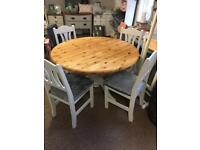 Beautiful solid pine dining table and 4 chairs