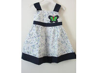 Brand New Girls White Navy blue butter fly cotton
