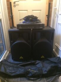 PA system with 2 speakers, 2 speaker stands, power amp and spare speakon cables