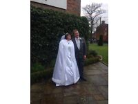 Full length lined wedding Cape/cloak faux fur trimmed