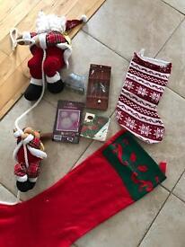 Christmas bundle - santa on a rope, stockings, drinks stirrers snowflake napkins NEW