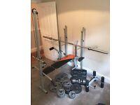 Folding Weight Bench + 20kg Bar + 2xDumbells + 130kg Weights (cast iron)