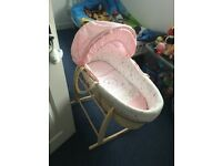 Moses basket with Claire DeLune rocking stand