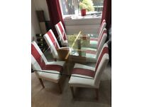 Dining table, chairs and matching side unit