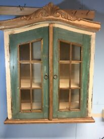 Antique look small wall mounted display cabinet