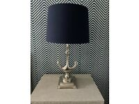 Gorgeous Chrome & Navy Statement Nautical Table / Bedside Lamps