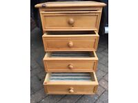 Two 4-drawer pine chests £25 the pair