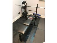 York Weight Bench with bar and weight plates