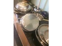 Stainless Steel Pot set with lids and colander