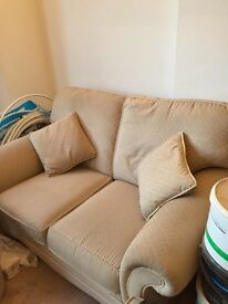 gorgeous 2 seater settee and matching single chair with scatter cushions and footstools.