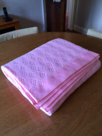 M&S PINK ACRYLIC CELLULAR BLANKET-SINGLE BED SIZE