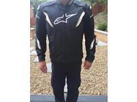 Alpinestars GP-R Leather Motorcycle Sports Jacket Black White GPR UK 46