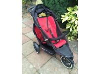 Phil & Teds Explorer double buggy with cocoon and raincover. Red. Good condition.