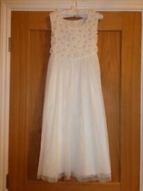 Two Monsoon White and Silver Detail Bridesmaid Dresses and bags Age 7-8 and 10-11