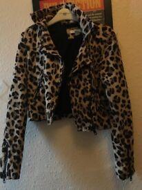 Leopard print biker jacket size 8
