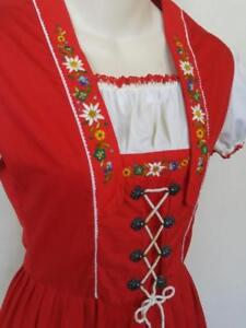 Oakville Original SWISS MISS Dress Girls 14  Made in Switzerland Hand Embroidery Cotton Red Heidi Sound of Music costume