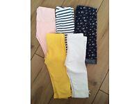 5 pairs of girls leggings 0-3m