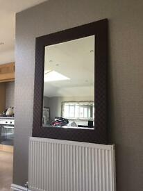 Large Leather effect mirror for sale
