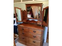 Beautiful antique vintage dressing table, drawers and wrap around mirror