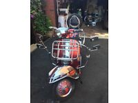 Vespa 1997 125 e (200) brilliant Union Jack looker red and stainless steel eye catcher £2600 ono