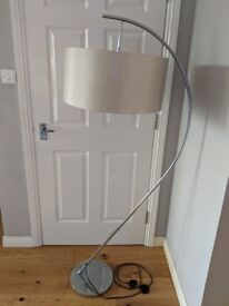 Arched Floor Lamp with Natural Shade