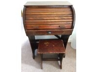 Beautiful 1930's vintage wooden children's roll top desk with stool